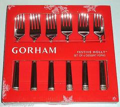 Gorham Festive Holly Dessert Forks Set of 6 Gold Banded New in Box - $36.90