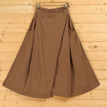 Women A Line Linen Skirt Ankle Length Linen Cotton Casual Skirt,Army Green Navy  image 4