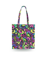 Neon Watercolor Swirls Canvas Tote Bag - $27.99+