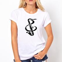 Saxophone   high quality cheapest price White t shirt  women - $19.99+