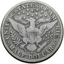 1914S Silver Barber Half Dollar Coin Lot A 339 image 2