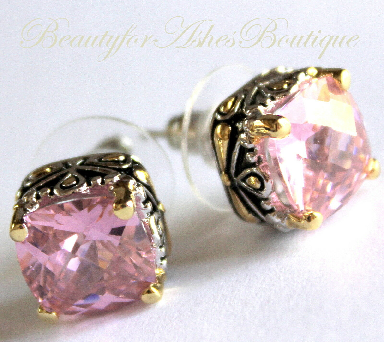 Primary image for 10mm Beauty for Ashes Checker Cut Two Tone Throne Room Pink CZ Post Earrings