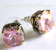10mm Beauty for Ashes Checker Cut Two Tone Throne Room Pink CZ Post Earrings - $59.00