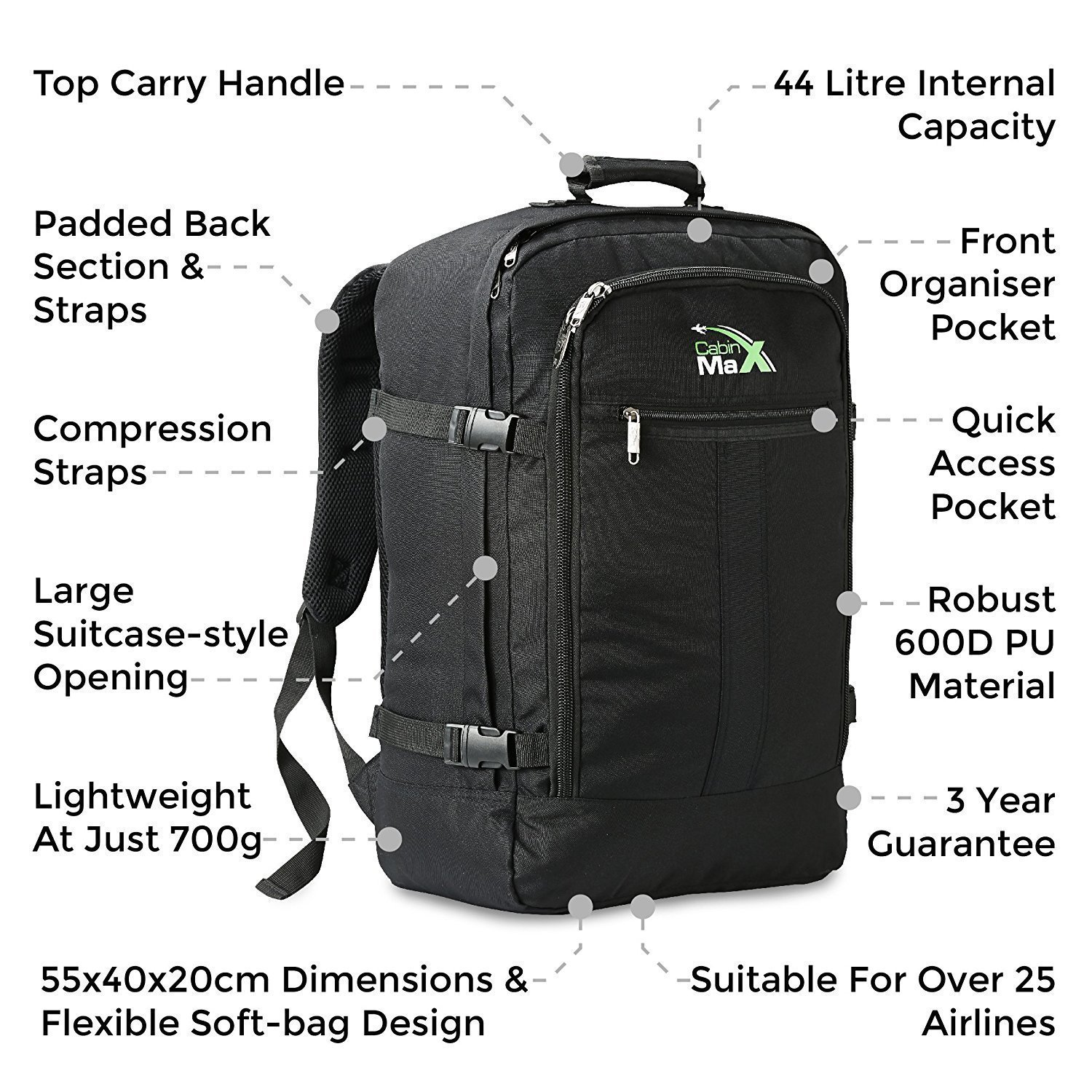 296d6f67d6 ... Cabin Max Metz Backpack Flight Approved Carry on Bag 44 Litre Travel  Hand Luggag