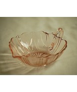 Anchor Hocking Oyster & Pearl Pink Depression Glass Handled Heart Bowl 1938 1940 - $29.69