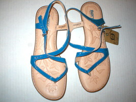 New Womens 11 Born Sandals Shoes Blue Comfort Tan Flats NWT Nahala Ankle Strap - $92.00
