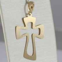 Yellow Gold Cross Pendant 750 18k, 2 measures, worked Edge, Satin, Italy image 6