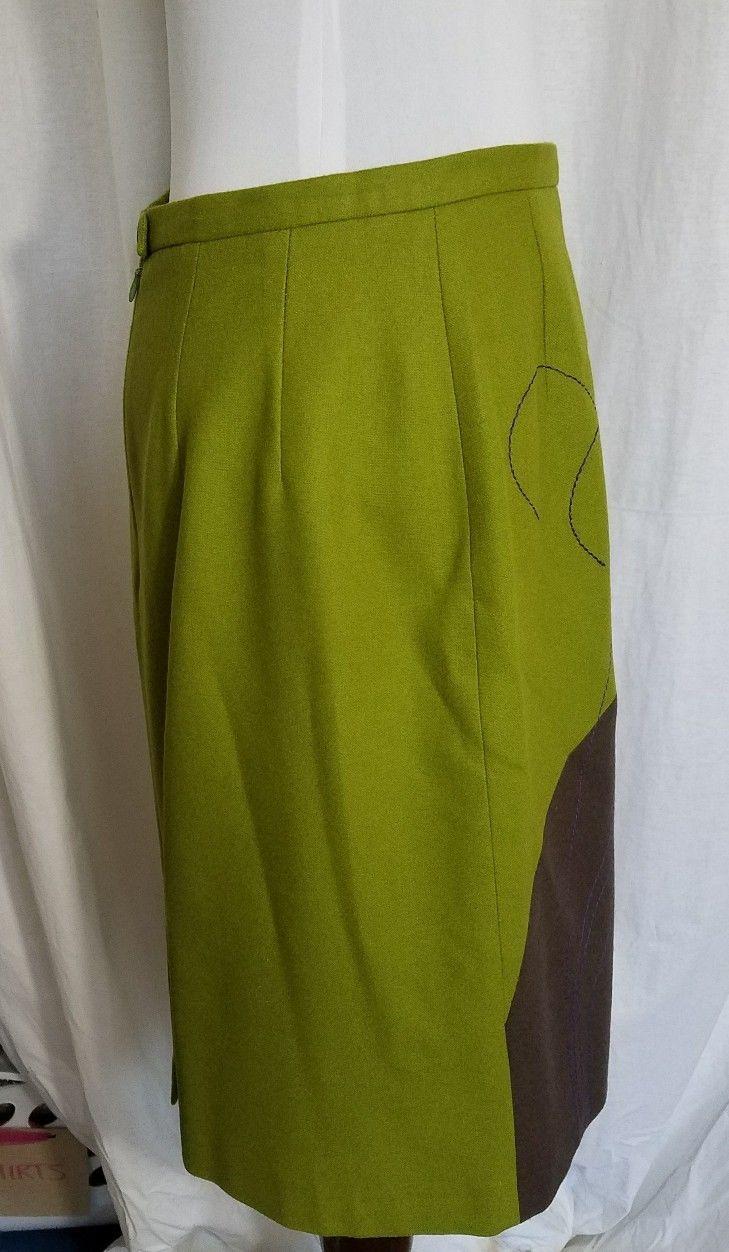 Harve Benard Green Wool Work Skirt Brown Leaf Knee Length A Line Size 10