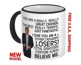Gift For Great CASHIER Trump : Mug Birthday Christmas Office Funny Coworker - £10.22 GBP+