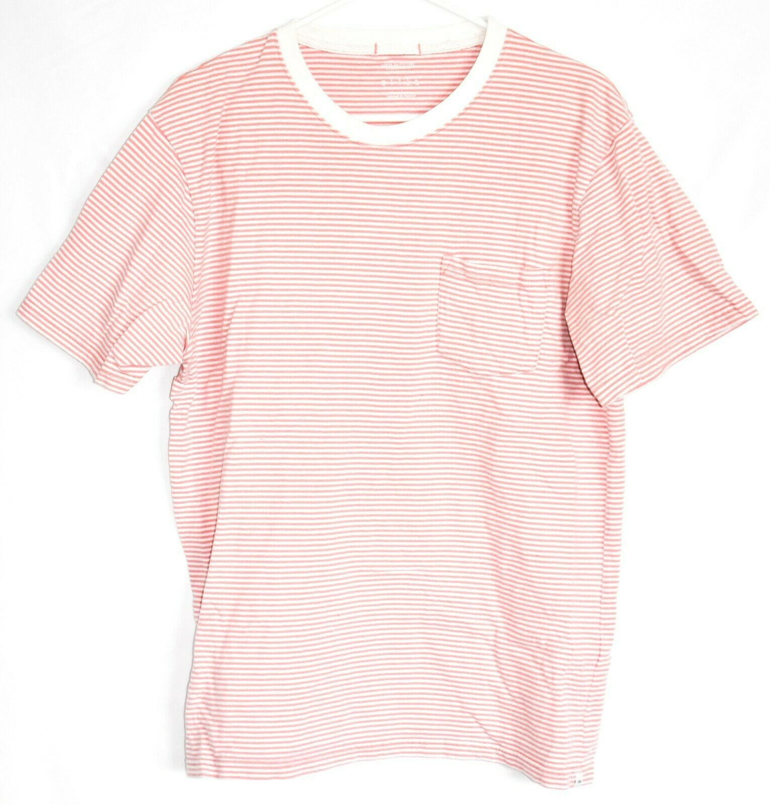 Urban Outfitters Standard Fit Pink Thin Stripe Striped Short Sleeve Shirt Size L