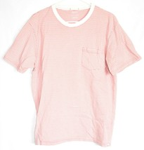 Urban Outfitters Standard Fit Pink Thin Stripe Striped Short Sleeve Shirt Size L image 1