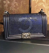 AUTH CHANEL LIMITED EDITION MIDNIGHT BLUE CRYSTAL LAMBSKIN MEDIUM BOY FLAP BAG image 3