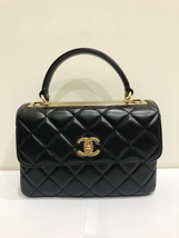 AUTHENTIC CHANEL BLACK QUILTED LAMBSKIN TRENDY CC 2 WAY HANDLE FLAP BAG GHW - $3,999.99