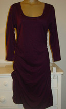 Apt. 9 purple plum body hugging dress runched gathered sides wiggle-L-NW... - $20.31
