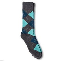 Capri Blue Argyle NEW Mens Dress Socks 6 12 Merona Gray - $12.00