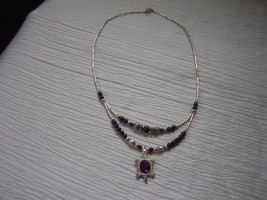 Estate Southwest Magnetic Silver Smooth Barrel with Faux Purple Stone Be... - $10.39