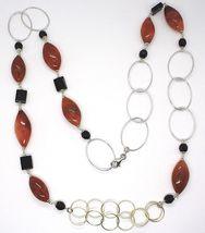 Collar Plata 925 ,Jaspe Ovalados, Ónix, Largo 90cm, Círculos Grandes image 3