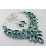 Blue Topaz Silver Overlay Handmade Jewelry Necklace 101 Gr. F-535-22 - $47.52