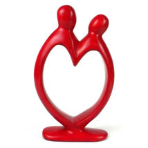 "African Art Red Soapstone Sculpture  Lovers Heart Figure  8"" - $39.99"