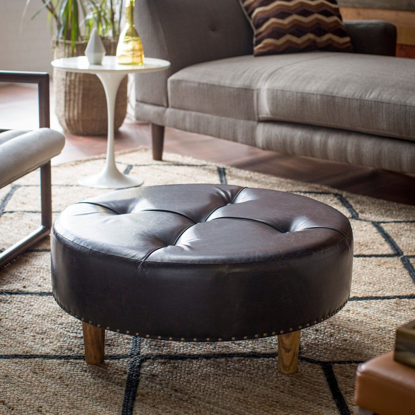 Weathered Brown Faux Leather 31 Quot Round Cocktail Ottoman