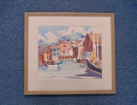 J Nolan Habor Seascape Painting Art Home Decor Watercolor Vintage 01611 - $229.00