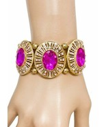 "1.5"" W Fuchsia Hot Pink Acrylic Crystals Bracelet Pageant Urban Chic, Dr... - $18.95"