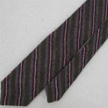 Vtg Allyn St. George Crosshatched Regimental Brn Gray Wool Skinny Neck T... - $24.74