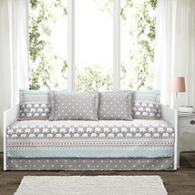 Lush Decor Elephant Stripe 6 Piece Daybed Cover Bedding Set Includes Bed Skirt,