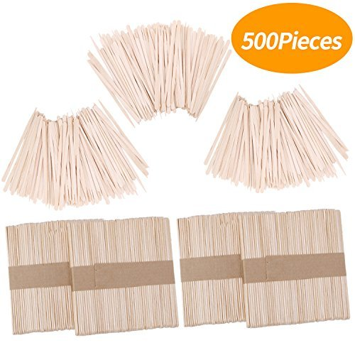 Senkary 500 Pieces Wooden Wax Sticks Waxing Sticks Wood Wax Applicator Sticks fo
