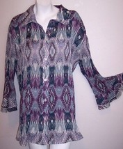Dressbarn Top 18 / 20W Accordion Pleat Bell Sleeve Shirt Tunic Blouse Pl... - $19.50