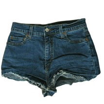 Levis Womens Perfectly Slimming 512 Cutoff Denim Booty Shorts 8M Solid Blue - $21.78