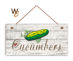 "Cucumbers Sign, Rustic Style Garden Sign,  5"" x 10"" Wood Vegetable Sign,... - $11.39"