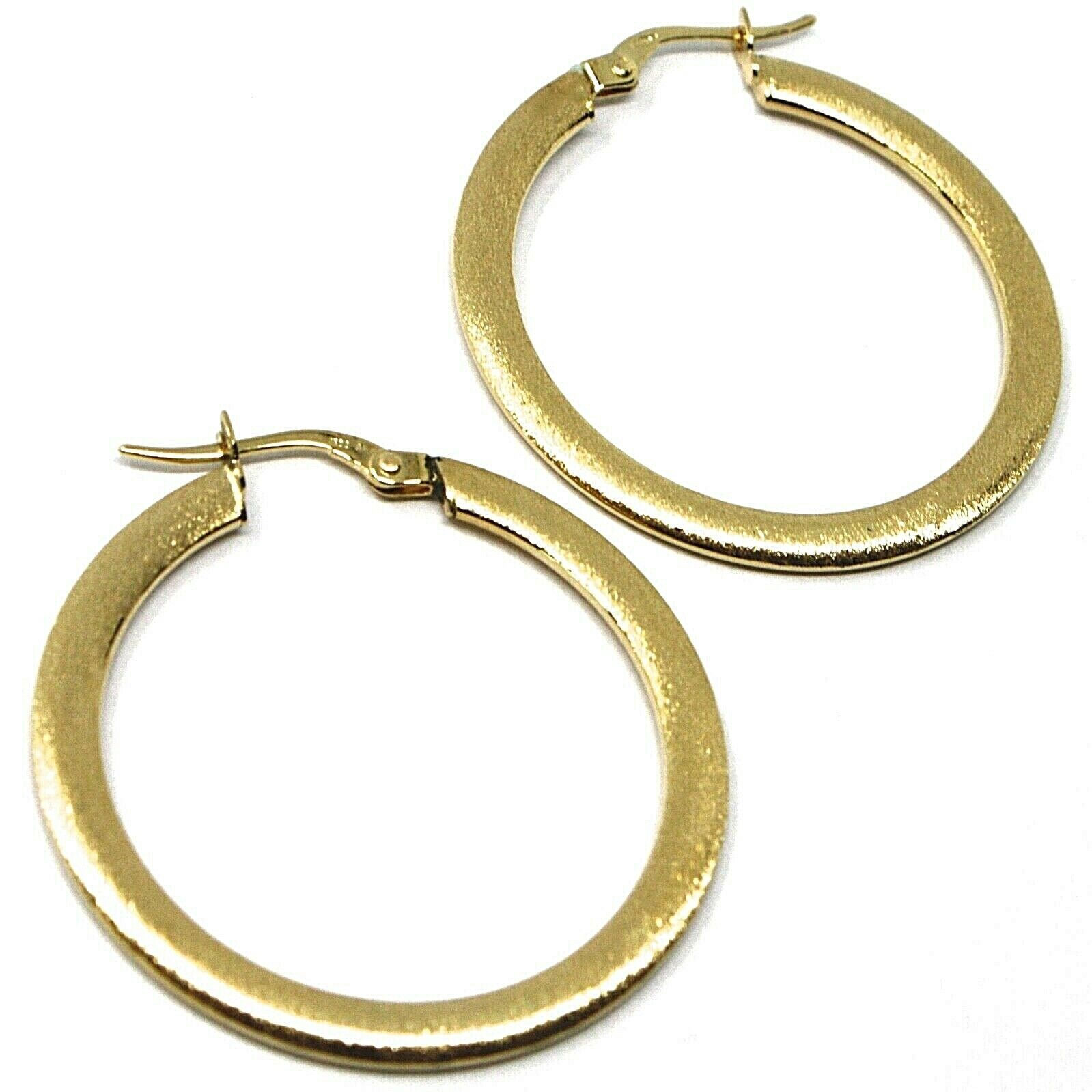 18K YELLOW GOLD CIRCLE HOOPS 3x1mm, EARRINGS 30mm, DOUBLE FACE SMOOTH & SATIN