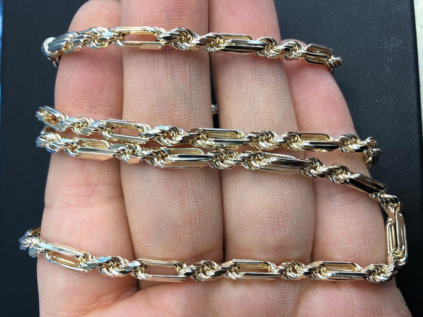 "4.4mm 14K Yellow Gold Men's / Women's Diamond-Cut Milano Rope Chain 20""-26"" image 4"