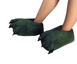 Funny Dinosaur Paw Push Slippers Dark Green (Asia Size: 35-39)