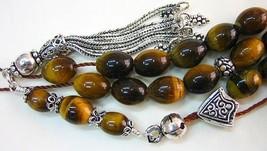 Greek Komboloi worry beads oval Tiger Eye & sterling Silver - $113.85