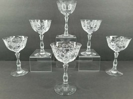 6 Fostoria Meadow Rose Clear Champagne Sherbet Vintage Etched Glass Stemware Set - $43.43