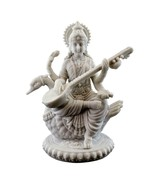 "SARASWATI ON SWAN STATUE 8.5"" Hindu Goddess Knowledge White Marble Finis... - £52.84 GBP"