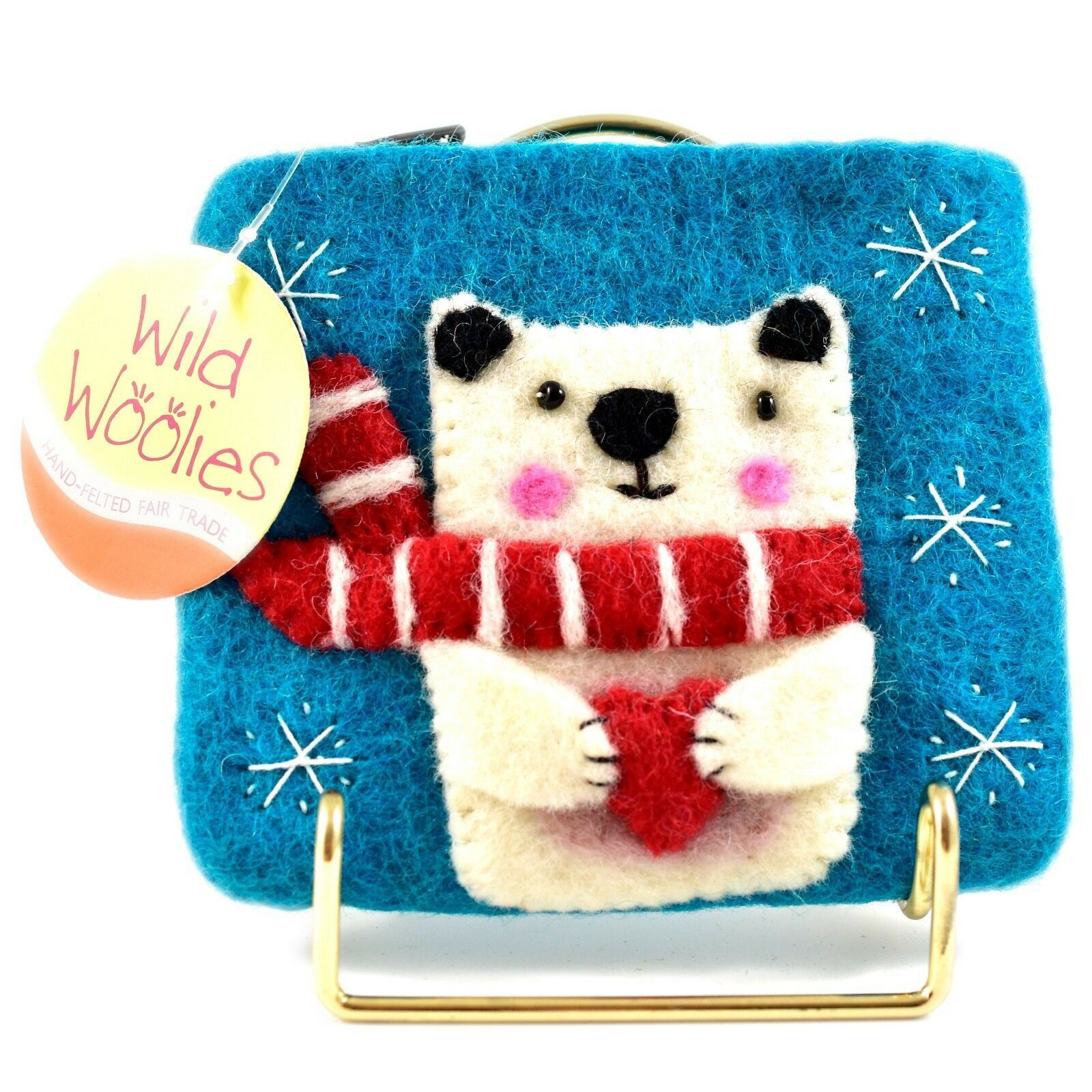 Wild Woolies Handmade Felted Wool Polar Bear Felt Coin Purse Bag Made in Nepal