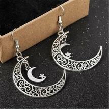 Vintage Moon Star Crescent Earrings 925 Silver Dangle Earring Handmade J... - $1.00