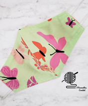 Upcycle Face Mask Palm Beach Cotton Pink Green Butterfly Handmade USA - $13.50