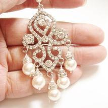 Statement Lace Pearl Earrings - Vintage Inspired Bridal Jewelry - $72.00