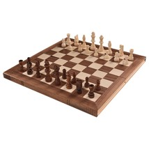 "NEW! Chess Set Pieces Portable Hand Carved Board Box 15"" US - $48.39"