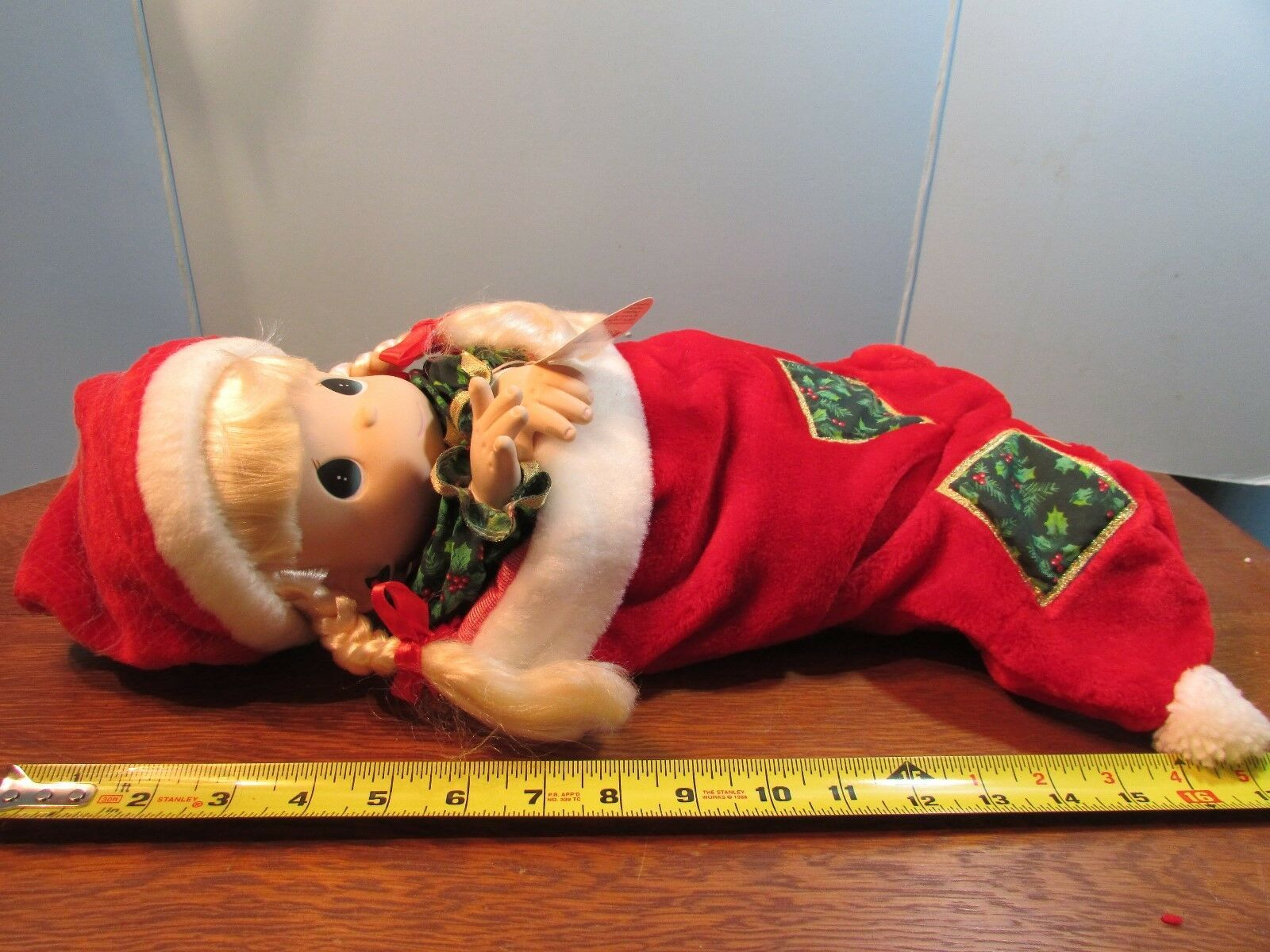"Precious Moments 1998  christmas eve stocking  Doll  16"" blonde hair/blue eyes"