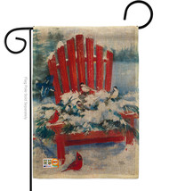 Red Chair in Winter Burlap - Impressions Decorative Garden Flag G164193-DB - $22.97