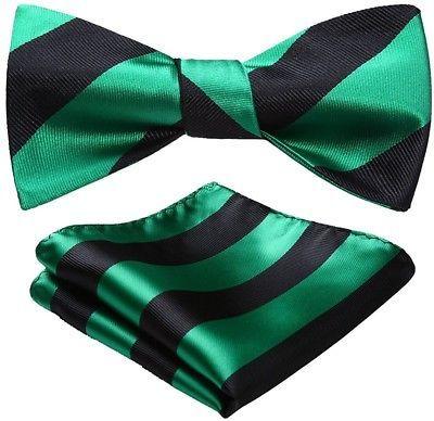 BIYINI Mens Stripe Jacquard Woven Wedding Party Self Bow Tie Set