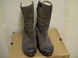 Women's Ugg Lynnea wood clog boots Grey Leather size 11 - $3.040,49 MXN