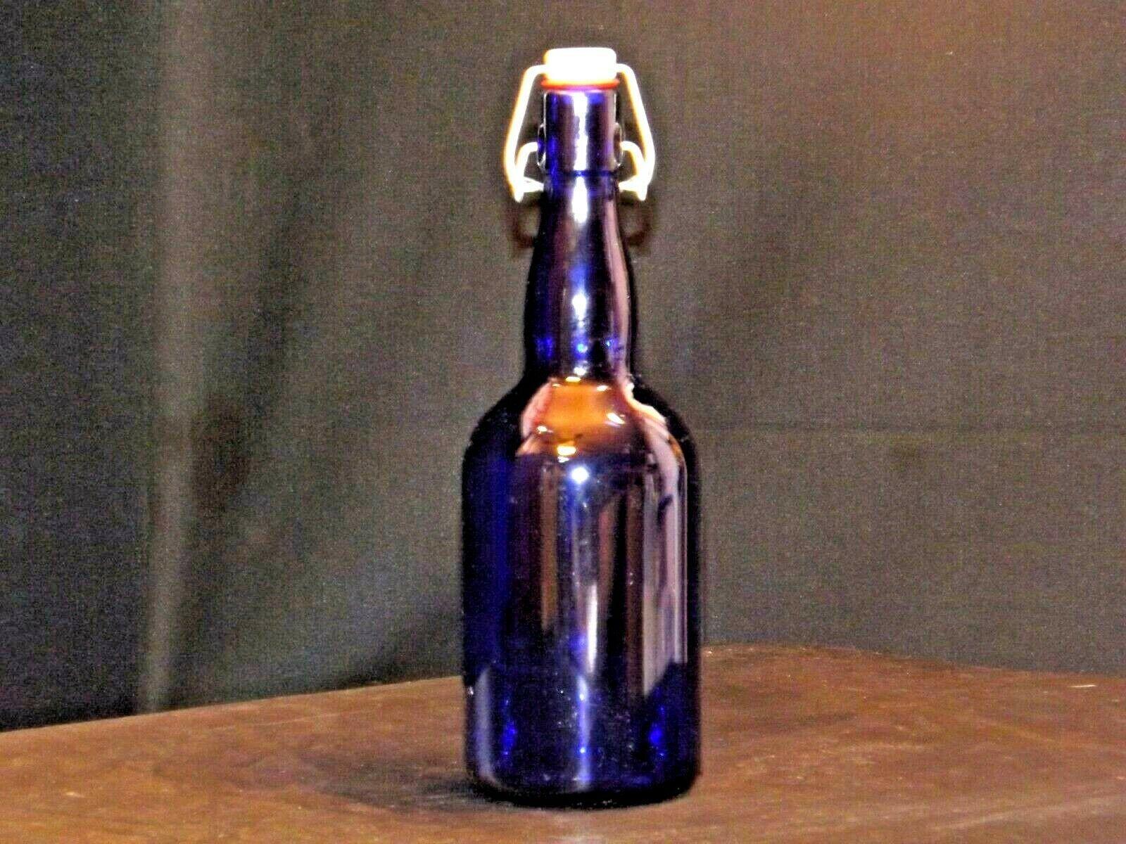 Blue Cobalt Bottle with Porcelain Swing AA19-1573 Vintage