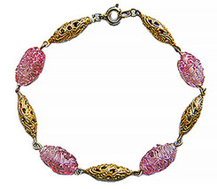 Gold Filigree and Murano Glass Chain Bracelet - $49.00