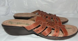 Easy Spirit Brown LEATHER  Slip-on Slides  Sandals Womens Size 10 - $10.88